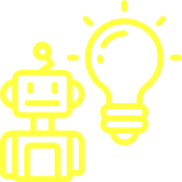 A illustration of a robot with a lit lightbulb on its side.