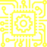 Illustration of a gearwheel on a chip.